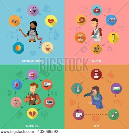Medicine Disease Design Concept Set With High Blood Pressure Fracture Heart Attack Cold Flat Icons S