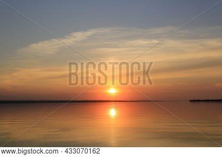 nice sunset landscape on lake