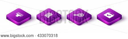 Set Isometric Scanner Scanning Bar Code, Verification Of Delivery List, Search Package And Package B