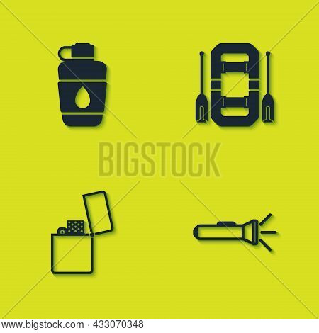 Set Canteen Water Bottle, Flashlight, Lighter And Rafting Boat Icon. Vector