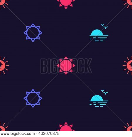Set Sunset, , And On Seamless Pattern. Vector