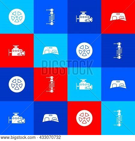 Set Car Wheel, Shock Absorber, Engine And Windscreen Icon. Vector