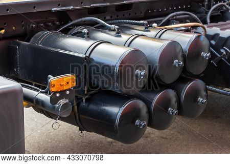 Air Brake System Of The Truck. Black Receivers With Compressed Air. Parts Of A Truck Close-up - A Fe