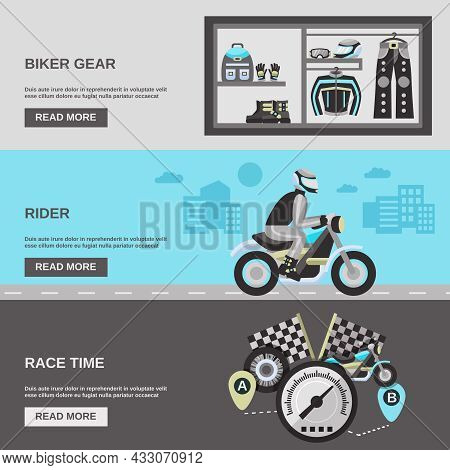 Rider Horizontal Banner Set With Biker Gear Race Time Flat Elements Isolated Vector Illustration
