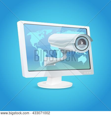Surveillance Video Camera And Monitor Global Security Concept Vector Illustration
