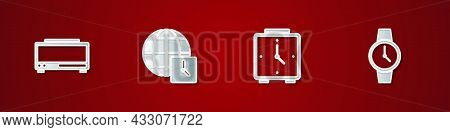 Set Digital Alarm Clock, World Time, Alarm And Wrist Watch Icon. Vector