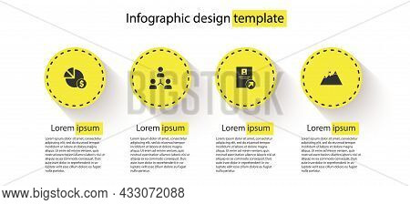 Set Pie Chart And Dollar, Project Team Base, Job Promotion And Mountains With Flag. Business Infogra