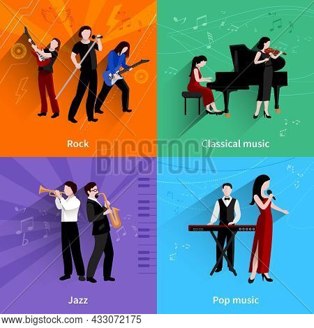 Musicians Design Concept Set With Pop Rock Jazz Classical Music Players Flat Icons Isolated Vector I