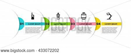 Set Line Walkie Talkie, Coffee Cup, Propane Gas Tank And Table Lamp. Business Infographic Template.