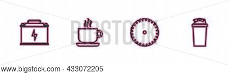 Set Line Car Battery, Circular Saw Blade, Coffee Cup And Fitness Shaker Icon. Vector