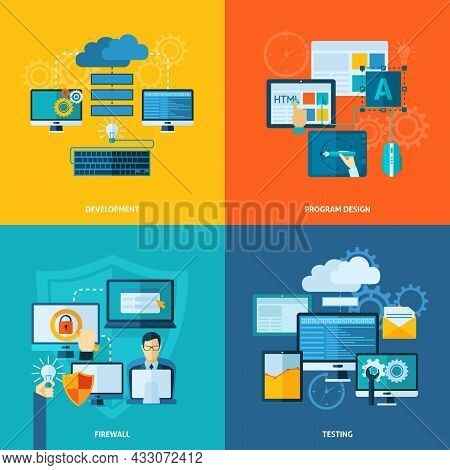 Program Development Design Concept Set With Firewall And Testing Flat Icons Isolated Vector Illustra