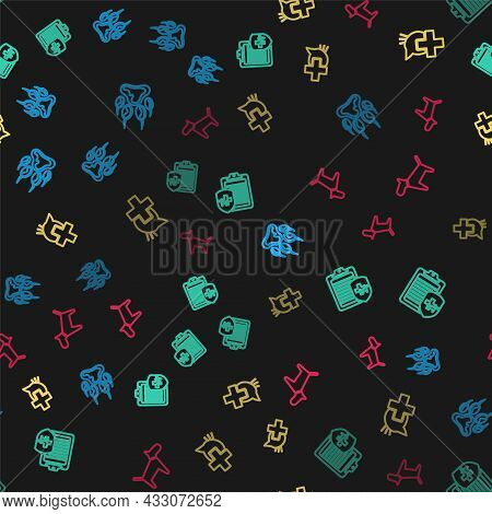 Set Line Paw Print, Clinical Record Pet, Veterinary Clinic And Dog On Seamless Pattern. Vector
