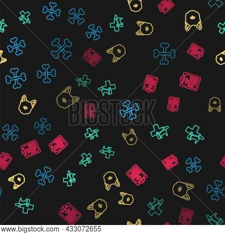 Set Line Crossed Bones, Veterinary Clinic, Dog And Clinical Record Pet On Seamless Pattern. Vector