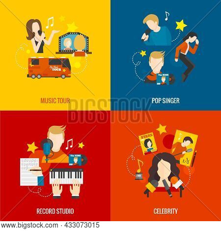 Pop Singer Design Concept Set With Music Tour Record Studio Celebrity Flat Icons Isolated Vector Ill