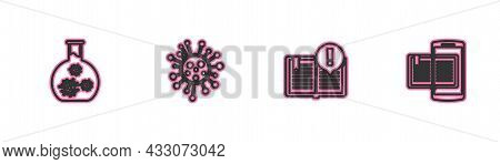 Set Line Test Tube With Virus, Interesting Facts, Bacteria And Smartphone And Book Icon. Vector