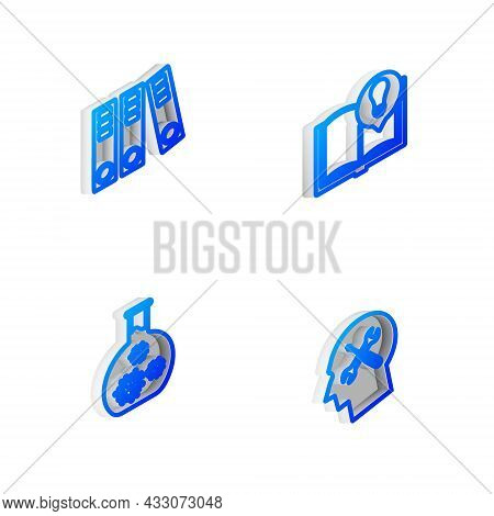 Set Isometric Line Interesting Facts, Office Folders, Test Tube With Virus And Human Head Service Ic