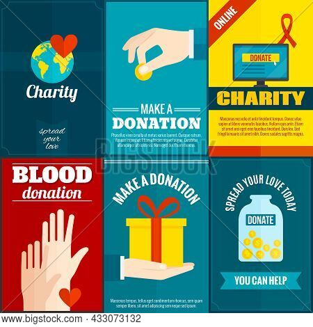 Charity Mini Posters Set With Money And Blood Donation Flat Isolated Vector Illustration