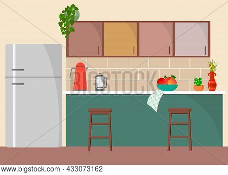 Simple Kitchen Interior With Refrigerator, Kitchen Cabinets, Table And Chairs. Contemporary Design F