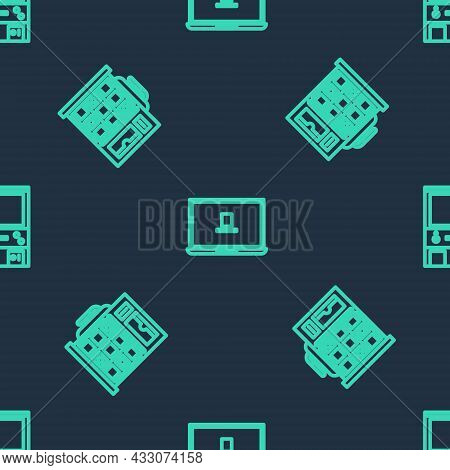 Set Line Laptop, Slot Machine And Retro Arcade Game On Seamless Pattern. Vector