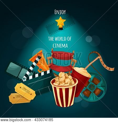 Cinema Background With Film Director Chair Actor Award Movie Tickets Cartoon Vector Illustration