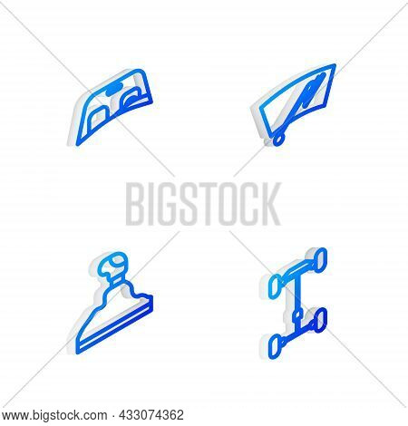 Set Isometric Line Windscreen Wiper, Car Windscreen, Gear Shifter And Chassis Car Icon. Vector