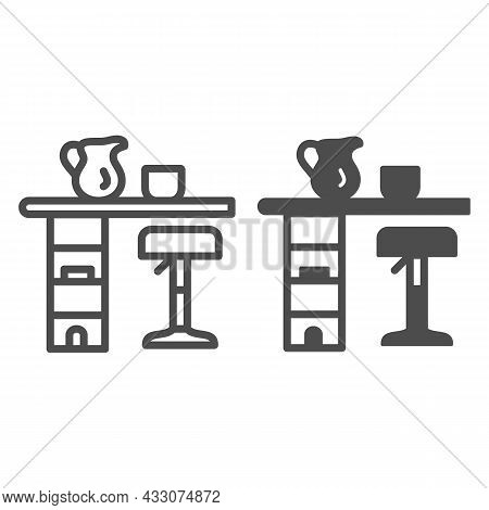 Bar Counter With Stool, Cup And Pot Line And Solid Icon, Interior Design Concept, Bar Table Vector S