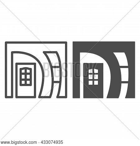 Arched Doorway Entrance Line And Solid Icon, Interior Design Concept, Arch Doorway Front Door Vector