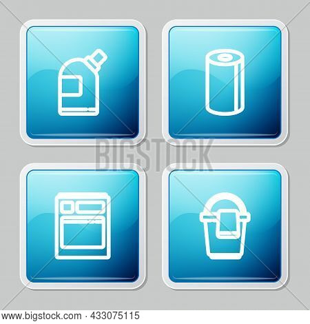 Set Line Bottles For Cleaning Agent, Paper Towel Roll, Kitchen Dishwasher Machine And Bucket With Ra