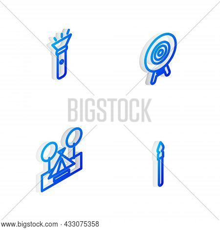 Set Isometric Line Target Sport, Flashlight, Tourist Tent And Medieval Spear Icon. Vector