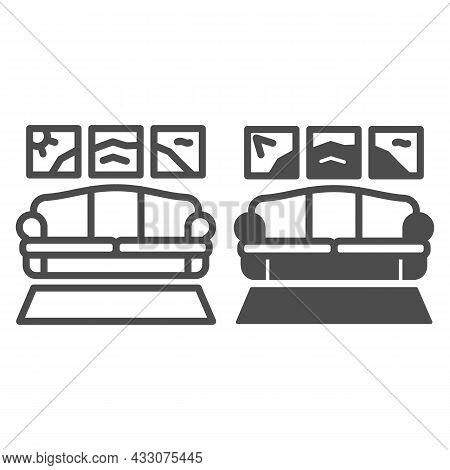 Carpet, Sofa, Panoramic Painting Line And Solid Icon, Design Concept, Couch In Living Room Vector Si
