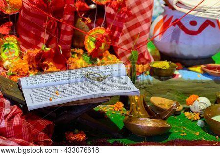 Howrah, West Bengal, India - 24th October 2020 : Pran Protistha Of Goddess Durga In Representative I