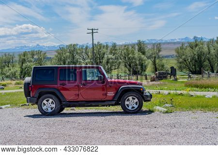 Madison Buffalo Jump Sp , Mt, Usa - July 2, 2020: A Jeep Wrangler Unlimited Sports Parked Along The