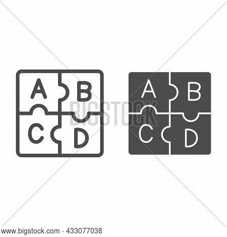 Letters Abc, Puzzle Alphabet Line And Solid Icon, Linguistics Concept, Puzzle Pieces Letter Vector S