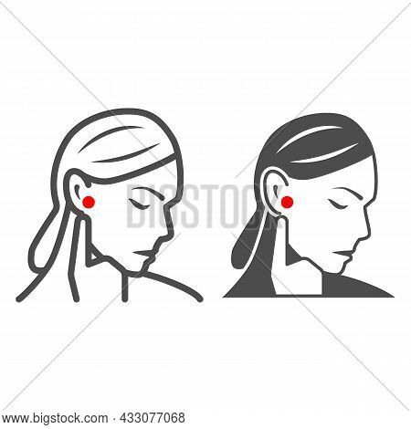 Woman Ear Hurts Line And Solid Icon, Body Pain Concept, Person Has Pain In The Ears Vector Sign On W