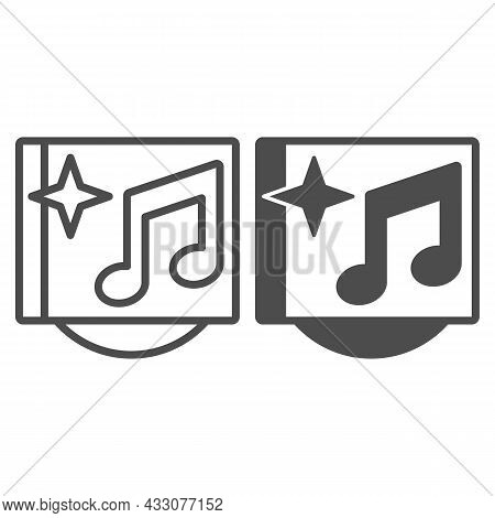 Musical Cd Cover With Star And Note Line And Solid Icon, Sound Design Concept, Music Album Vector Si