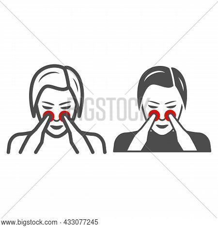 Woman Nose Disturbs Line And Solid Icon, Body Pain Concept, Person Has Nasal Pain Vector Sign On Whi