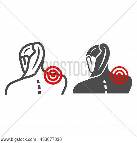 Woman Neck Hurts Line And Solid Icon, Body Pain Concept, Neck Pain Vector Sign On White Background,