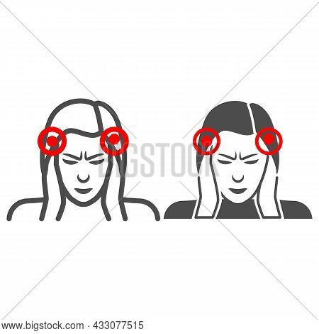 Woman Temples Hurt Line And Solid Icon, Body Pain Concept, Person Has Pain In The Temples Vector Sig