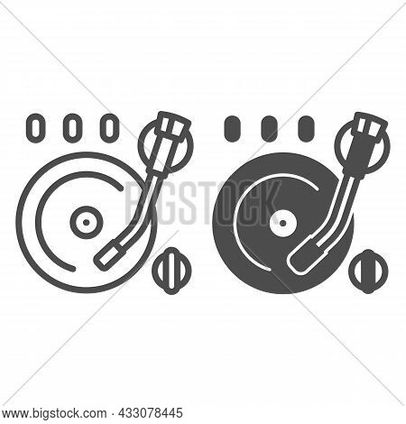 Vinyl Plate On Record Player Line And Solid Icon, Sound Design Concept, Record On Turntable Vector S