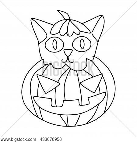 Cute Cat In Halloween Pumpkin Coloring Page Vector. Cartoon Hand-drawn Little Cat And Scary Carved P