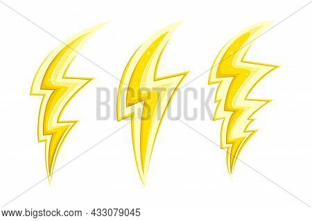Shiny Electric Lightnings And Flashes In Comic Style. Cartoon Lightnings Set. Vector Illustration Is
