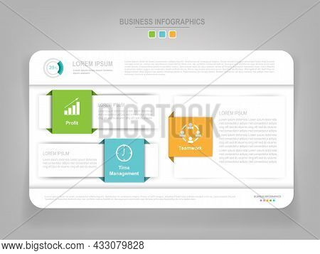 Infographic Template Of Three Parts On Work Sheet, Tag Banner, Work Sheet, Flat Design Of Business I