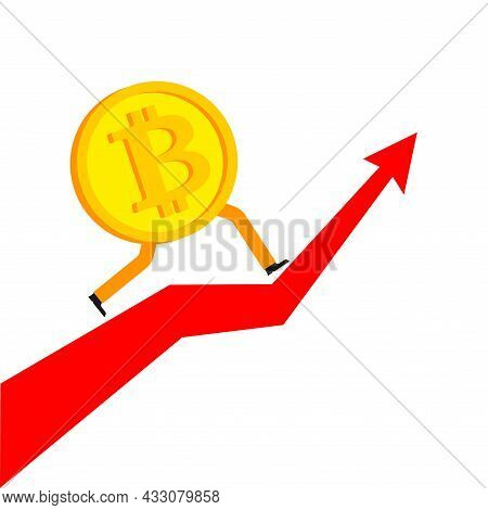 Bitcoin Is Running. Concept Increase In Value Of Cryptocurrencies. Electronic Money Increases Rate O