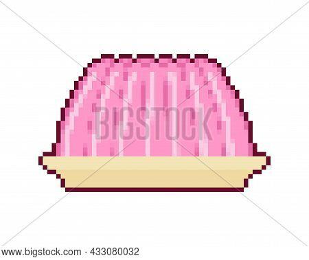 Jelly Pixel Art. Pixelated Jell. Sweetness 8 Bit. Vector Illustration