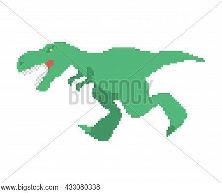 Dinosaur Tyrannosaurus Rex Pixel Art. Pixelated T-rex Is Predator Lizard. 8 Bit Prehistoric Dino
