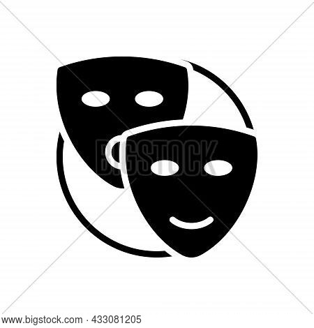 Black Solid Icon For Pretend Mask Drama Dramatics Profess Feign Dissemble Put-on Assume Belie