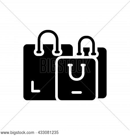 Black Solid Icon For Shopping Handle Buy Consumer Carry-bag Purchasing Bag Carry