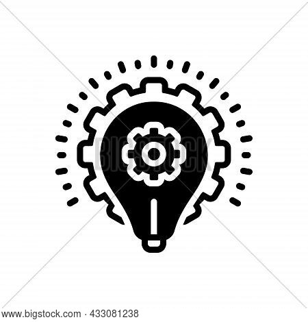 Black Solid Icon For Strategy Planning Strategics Master-plan Scheme Idea Infographic Gear