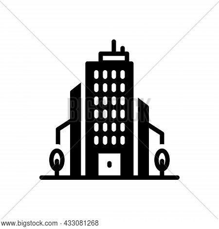 Black Solid Icon For Corporation Office Bureau House Association Business Company Enterprise Society