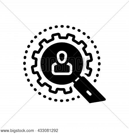Black Solid Icon For Investigation Detective Magnification Research Inquiry Inspection Survey Examin